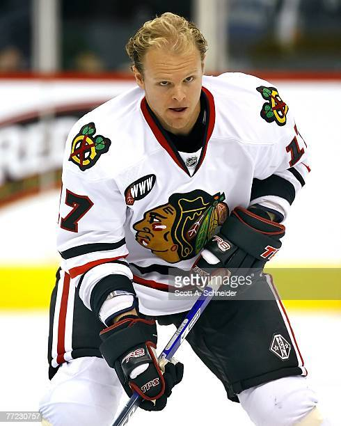 Kevyn Adams of the Chicago Blackhawks skates in warmups before a game with the Minnesota Wild on October 4 2007 at the Xcel Energy Center in St Paul...