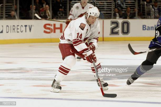 Kevyn Adams of the Phoenix Coyotes skates against the Los Angeles Kings on January 20 2007 at Staples Center in Los Angeles California The Coyotes...