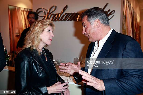 Kevyn Wynn and CEO of Scalamandre Louis Renzo talk at the Scalamandre Cocktail Party in Honor of Elaine Wynn and Communities in Schools at...