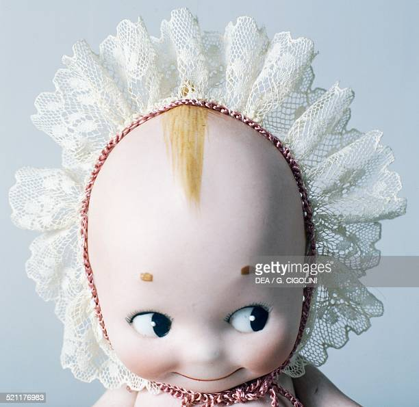 Kewpie doll with lace cap celluloid doll made by Kewpie United States of America 20th century Detail United States