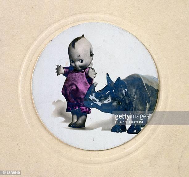 Kewpie doll with rhinoceros postcard 1930s United States of America 20th century