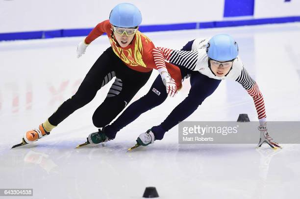 Kexin Fan of China and Suk Hee Shim of Korea competes in the Women's 500 metre Short Track Speed Skating Final on day four of the 2017 Sapporo Asian...