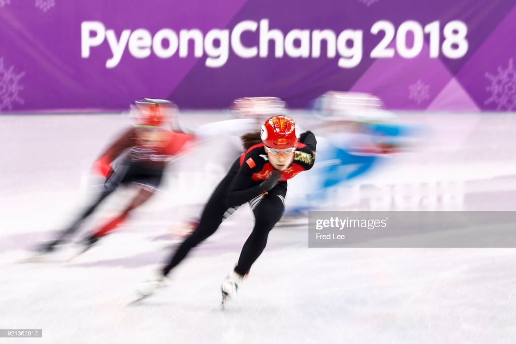Kexin Fan of China competes the Ladies Short Track Speed Skating 3000m Relay Final A on day eleven of the PyeongChang 2018 Winter Olympic Games at Gangneung Ice Arena on February 20, 2018 in Gangneung, South Korea.