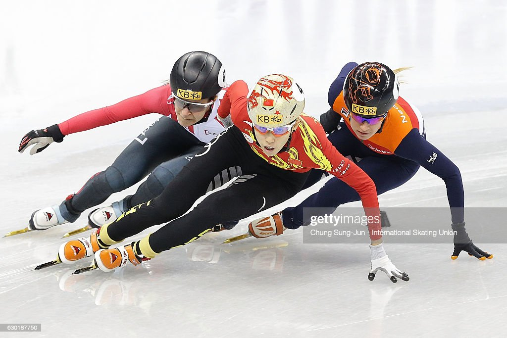 Kexin Fan of China , Jamie Macdonald of Canada and Yara van Kerkhof of Netherlands compete in the Ladies 500m Quarterfinals during the ISU World Cup Short Track 2016 on December 18, 2016 in Gangneung, South Korea.