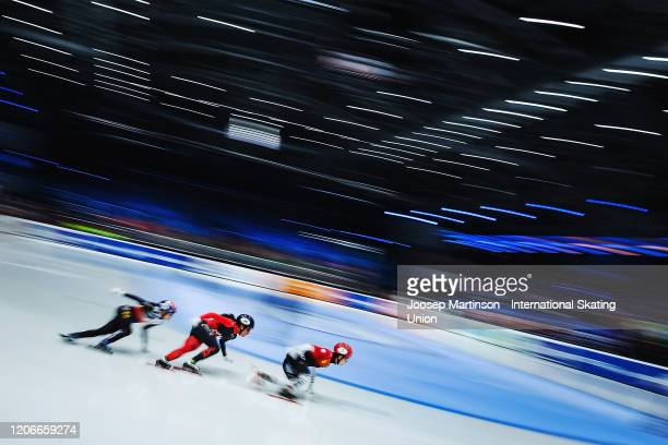 Kexin Fan of China leads the pack in the Ladies 500m final during day 2 of the ISU World Cup Short Track at Sportboulevard on February 16, 2020 in...