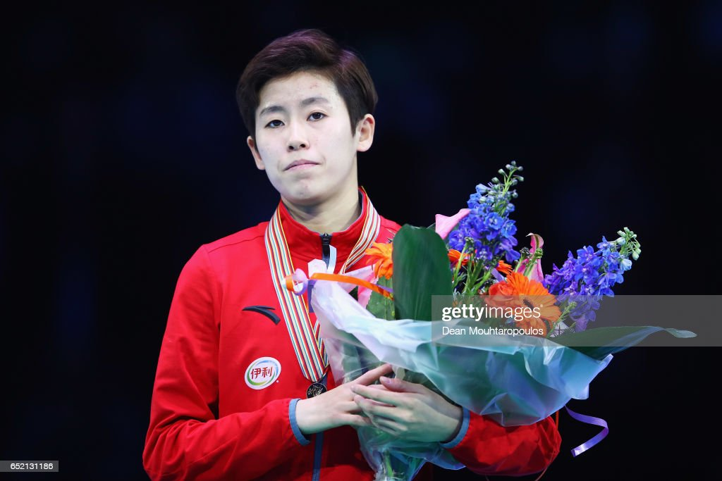 Kexin Fan of China with the gold medal on the podium after the Ladies 500m Final during day one of ISU World Short Track Championships at Rotterdam Ahoy Arena on March 11, 2017 in Rotterdam, Netherlands.