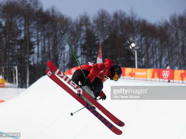 Kexin Zhang of China during the women's Halfpipe Freestyle Skiing at Phoenix Snow Park on February 20 2018 in Pyeongchanggun South Korea