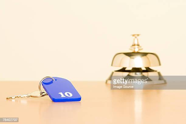 Key and counter bell at hotel