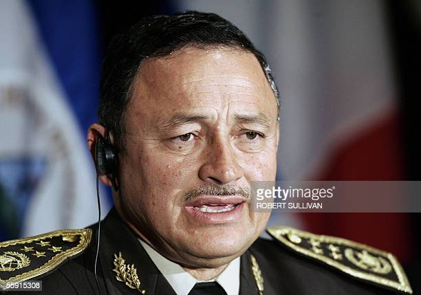 Guatemala's Defense Minister Carlos Aldana speaks 13 October 2005 during the closing press conference at the USCentral America Conference of Minister...