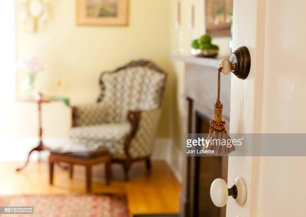 Key fob in lock on door of guest room