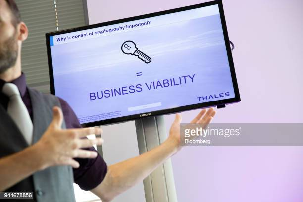 A key illustration sits on display during a business esecurity data protection demonstration at the Thales SA cyber security event in the Velizy...