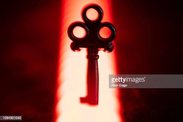 key in a mystic environment. a mysterious ray of light illuminates the key. conceptual nature - propiedad intelectual fotografías e imágenes de stock