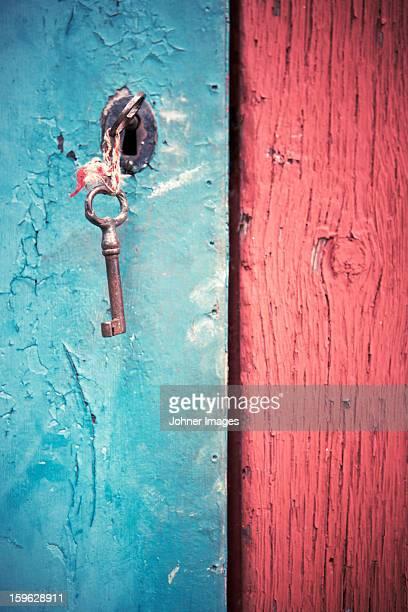 Key in old wooden door