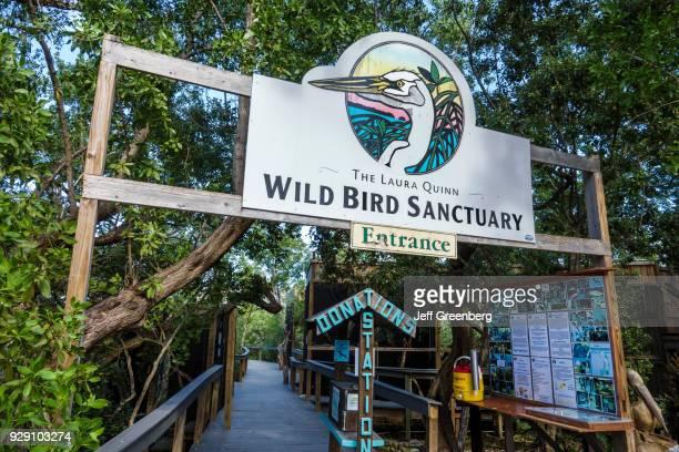 Key Largo Florida Keys Center Laura Quinn Wild Bird Sanctuary Entrance Sign and Donation Box