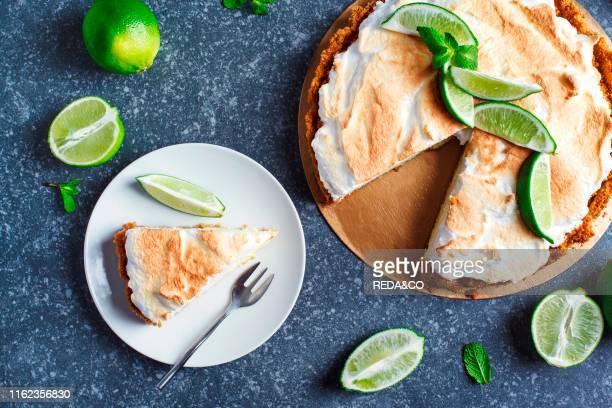 Key Lime Pie Citrus pie with meringue top view