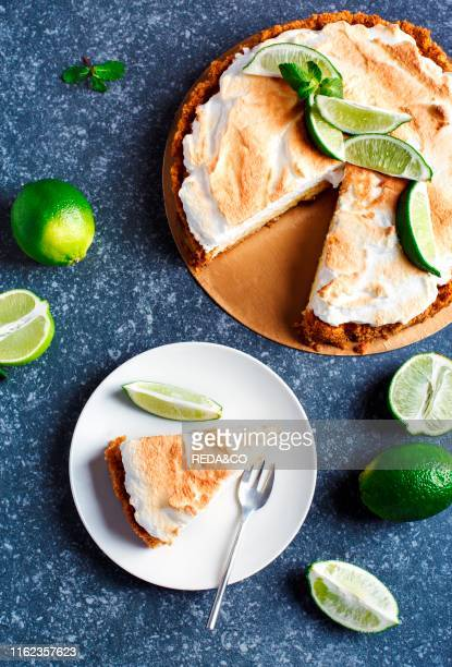 Key Lime Pie Citrus pie with meringue top view