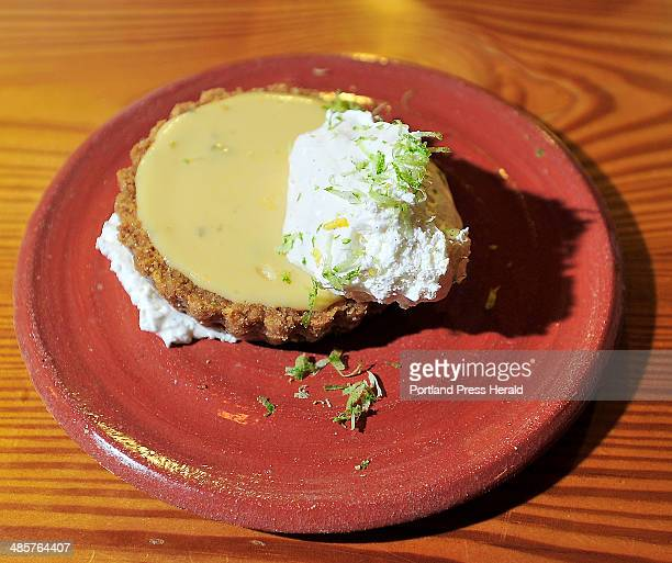 Key Lime Tart with whipped cream and lime zest at Central Provisions for Dine Out Maine in audience