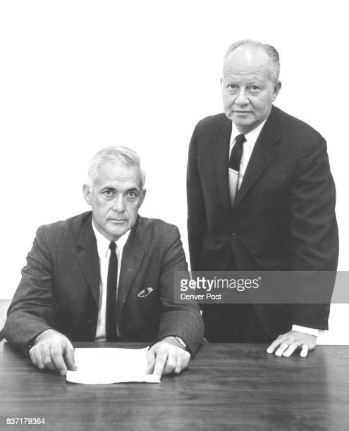 Key Men in New Denver Furniture Factory Theodore R Combs seated left of Harter Corp and Galen Seal Sr Harter Corp of Sturgis Mich an international...