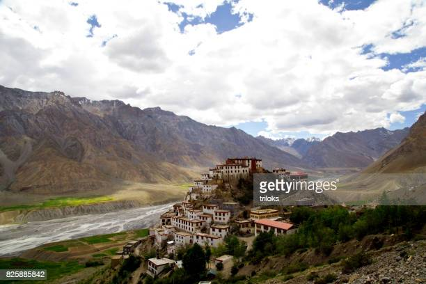 key monastery and himalayan mountain - tibetan culture stock pictures, royalty-free photos & images
