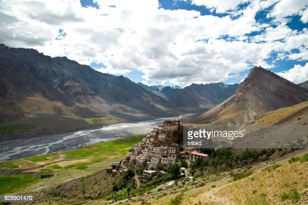 key monastery and himalayan mountain - kashmir stock photos and pictures