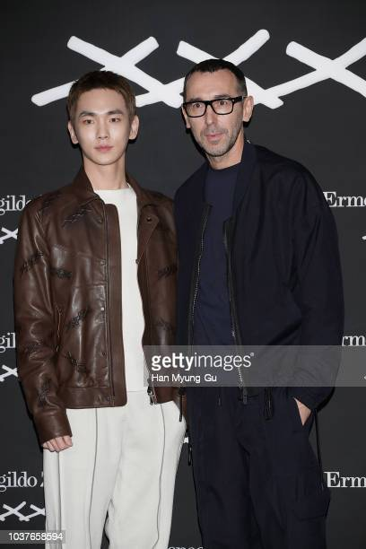 Key of South Korean boy band SHINee and designer Bruno Frisoni attend the photocall for the Ermenegildo Zegna XXX Collection Launch on September 20...