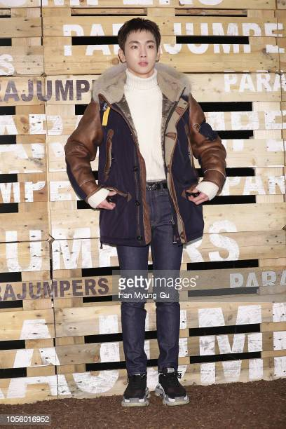 Key of South Korean boy band SHINee attends the photocall for the 'PARAJUMPERS' 2018 F/W Presentation on November 1 2018 in Seoul South Korea