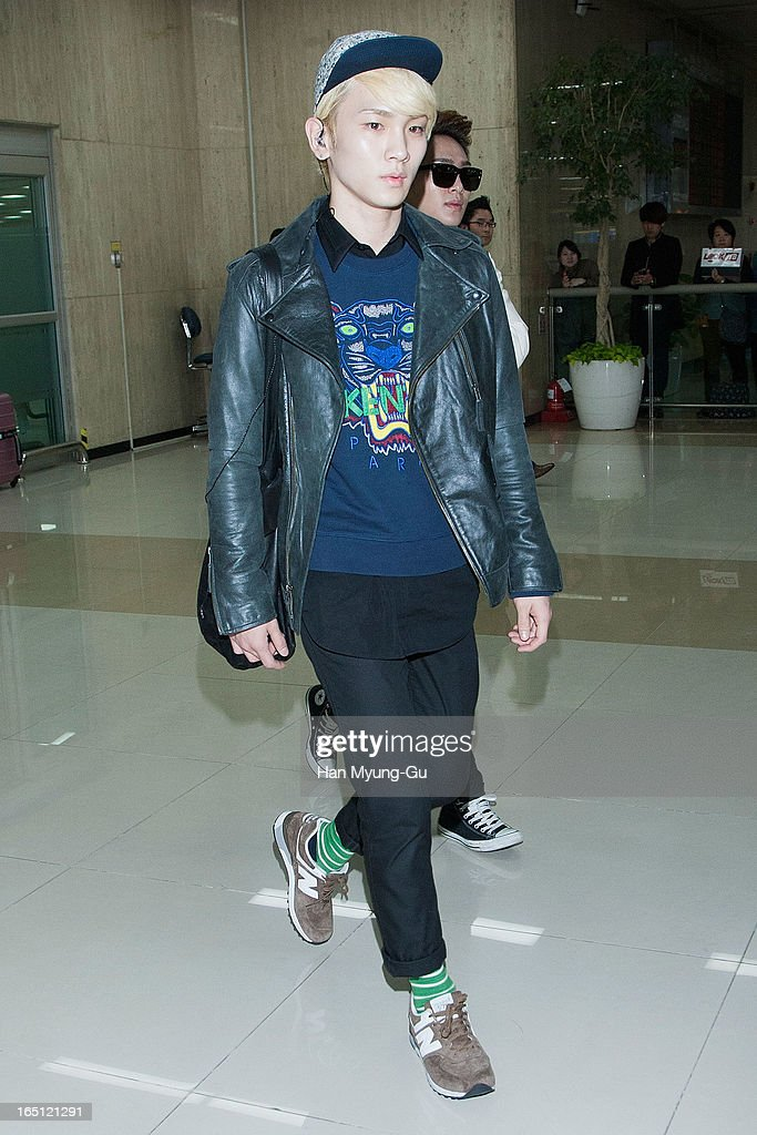 Key of South Korean boy band SHINee is seen upon arrival from Japan at Gimpo International Airport on March 30, 2013 in Seoul, South Korea.