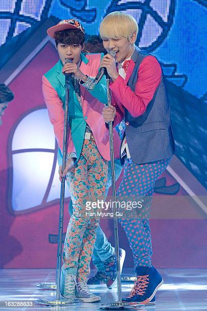 Key of South Korean boy band SHINee performs onstage during the MBC Music 'Show Champion' at UniqloAX Hall on March 6 2013 in Seoul South Korea