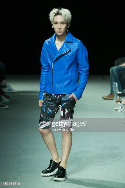 Key of South Korean boy band SHINee showcases designs on the runway during the JARRET show as part of Seoul Fashion Week F/W 2014 on March 25 2014 in...