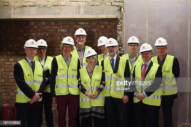 Key personnel in in the redevelopment of Keeper's House at the Royal Academy of Arts attend the 'Topping Out Ceremony' on April 25 2013 in London...