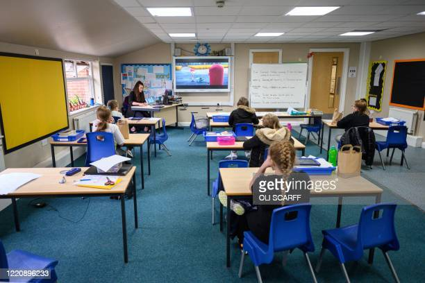 Key Stage 2 pupils eat their lunches individually at their desks, sitting well apart from each other in order to minimise the risk of passing on...