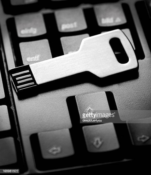 USB Key Stick on black Keyboard