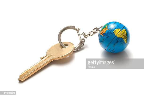 key to world - key ring stock photos and pictures