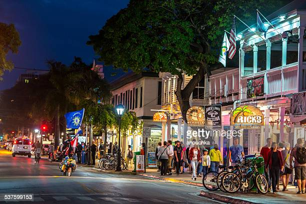 key west streets by night - key west stock photos and pictures