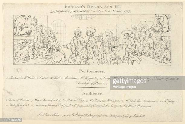 Key with List of Performers and Audience to: The Beggars Opera, July 1, 1790. Artist Unknown.