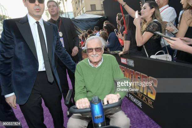Keya Morgan and producerwriter Stan Lee attend the Los Angeles Global Premiere for Marvel Studios' Avengers Infinity War on April 23 2018 in...