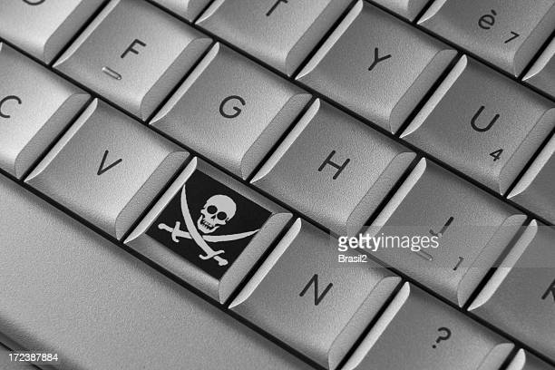 A keyboard icon for piracy beside letter v and n