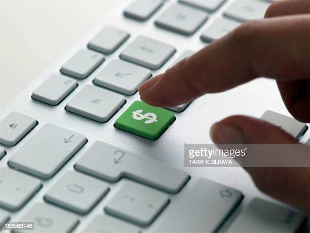 keyboard message , us dollar sign - computertoetsenbord stockfoto's en -beelden