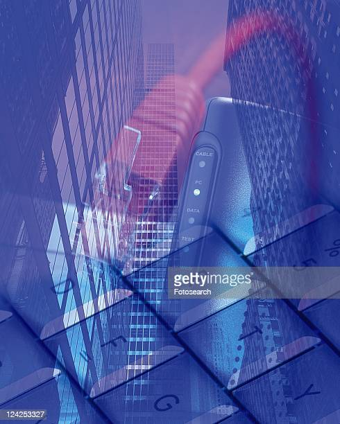 Keyboard, Modem and Cable Over the City Image, Composition, Close Up, Toned Image, Differential Focus, In Focus, Out Focus,