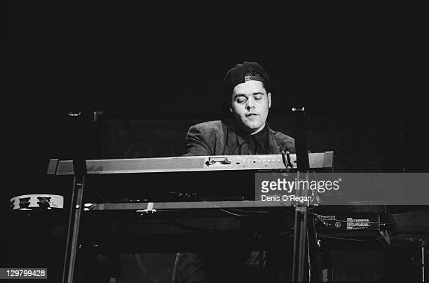 Keyboard player Andrew Farriss performing with Australian rock group INXS at Wembley Arena London during the 'Kick' tour 24th June 1988