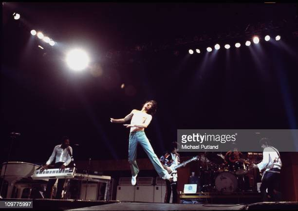 Keyboard player Billy Preston, singer Mick Jagger, guitarist Ronnie Wood, drummer Charlie Watts and Keith Richards of the Rolling Stones performing...