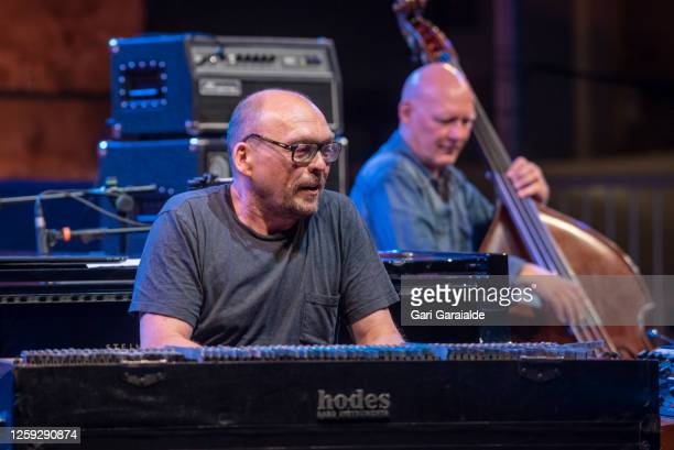 Keyboard player Bugge Wesseltoft performs on stage with Rymden during the 55th edition of the Heineken Jazzaldia Festival on July 26 2020 in San...