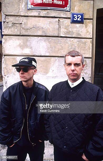Keyboard player Chris Lowe and Singer Neil Tennant of electronic pop duo the Pet Shop Boys Prague May 1991