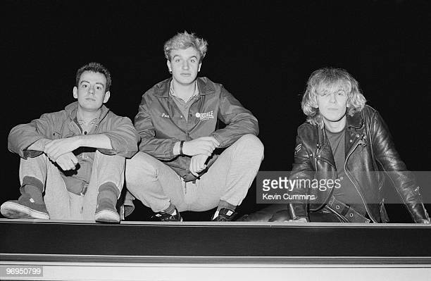 Keyboard player David Balfe drummer Gary Dwyer and singer and bassist Julian Cope of British band The Teardrop Explodes at Lancaster University on...