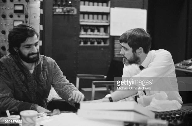 Keyboard player Felix Cavaliere of American rock band The Rascals, with American recording engineer and record producer Tom Dowd at Atlantic Studios,...