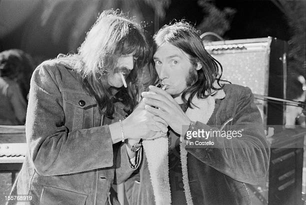 Keyboard player Jon Lord on stage at the Ontario Motor Speedway, Ontario, California, where he performed with English rock group Deep Purple at the...