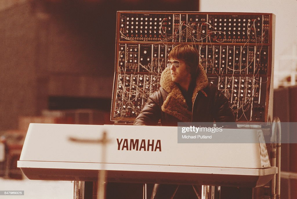 Keyboard player Keith Emerson, of English progressive rock group Emerson, Lake and Palmer, during rehearsals for the band's 'Works' tour, at the Olympic Stadium, Montreal, Canada, February 1977.