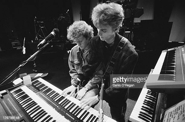 Keyboard player Magne Furuholmen and guitarist Paul WaaktaarSavoy rehearsing with Norwegian pop group aha circa 1985