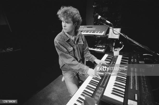 Keyboard player Magne Furuholmen rehearsing with Norwegian pop group aha circa 1985
