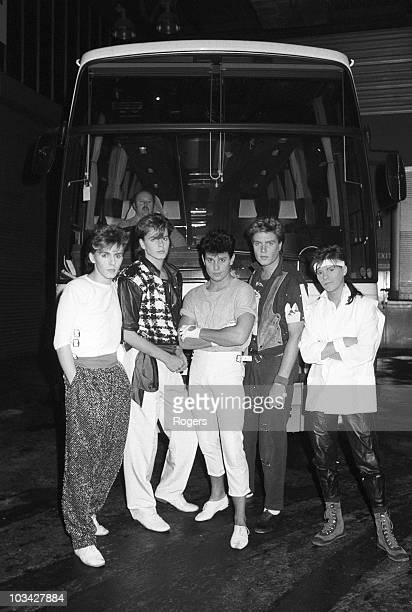 Keyboard player Nick Rhodes bassist John Taylor drummer Roger Taylor singer Simon Le Bon and guitarist Andy Taylor of Duran Duran pose in front of...